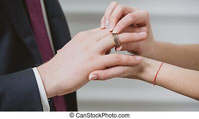 finger., sposa, mettere, fede, sposi