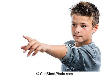 finger., sprytny, spoinowanie, chłopiec, odległość