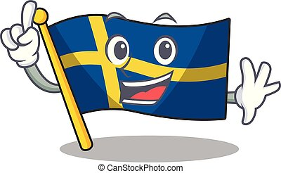 Finger swede flags flutter on character pole vector...