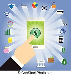 Finger Tapping Dollar Sign In Smartphone With Fintech Icons