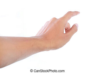 finger touching button - gesture of mans hand touching...