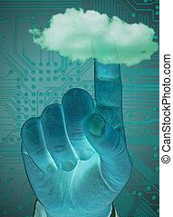 finger touching cloud,