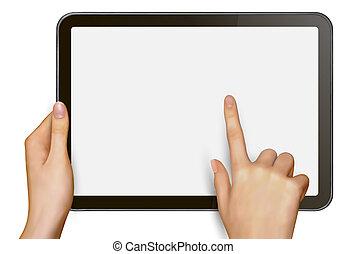 Finger touching digital tablet