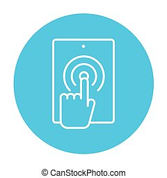 Finger touching digital tablet line icon.