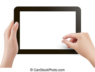 Finger touching digital tablet scre