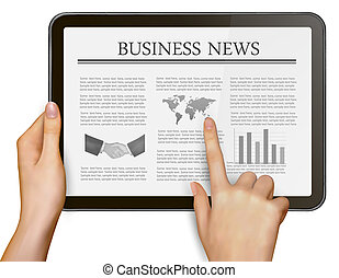 Finger touching digital tablet screen with business news...