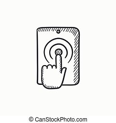 Finger touching digital tablet sketch icon.