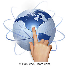 Finger touching globe