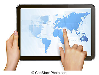 Finger touching world map on a touch screen