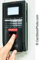 finger tryk, afsøge, by, ind, system security