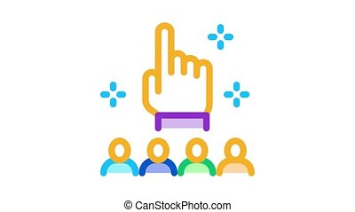finger up gesture and audience Icon Animation