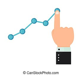 Finger up holding chart arrow. Businessman