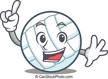 Finger volley ball character cartoon vector illustration