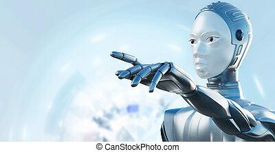 finger., weibliche , roboter, zeigen
