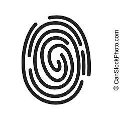 fingerabdruck, vektor, ikone