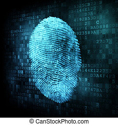 fingeraftryk, på, digitale, skærm