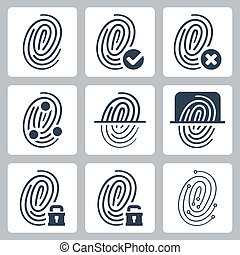 fingeraftryk, vektor, sæt, iconerne