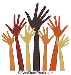 fingered, largo, illustration., manos