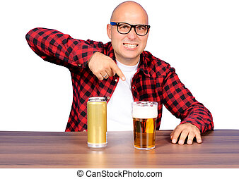 Fingering the beer - Funny man pointing on the beer