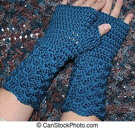 Fingerless Mittens on Hands