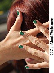 fingernägel, m�dchen, grün
