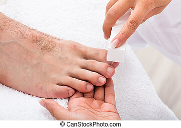 fingernagel, kosmetolog, filning, hand