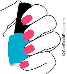 fingernagel, med, a, spika polermedel, in, hand