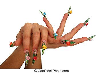 fingernail, długie palce, ludzki