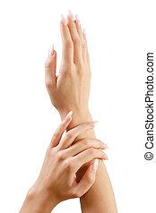 fingernail., mulher, mão., manicure, e, gesticule