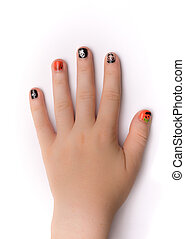 Fingernails painted artistically for Hwlloween - Young...