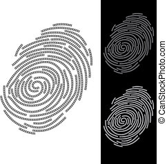 Abstract fingerprint. Illustration on blue and black background