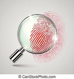 Fingerprint and a magnifier, vector
