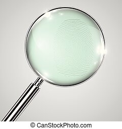 Fingerprint and a magnifier, vector