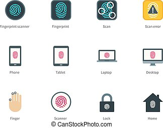Fingerprint and devices color icons on white background. -...
