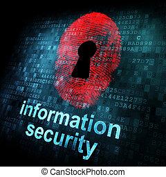 Fingerprint and information security on digital screen, 3d...