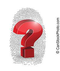 fingerprint and question mark illustration design