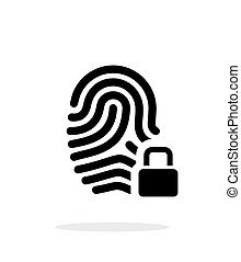 Fingerprint and thumbprint with lock icon on white...