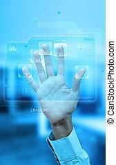 Fingerprint authentication - Virtual screen with fingerprint...