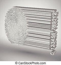 Fingerprint becoming barcode vector illustration
