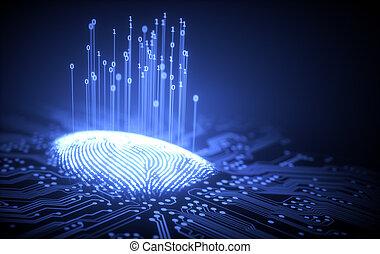 Fingerprint Binary Microchip - 3D illustration. Fingerprint ...