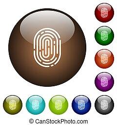 Fingerprint color glass buttons - Fingerprint white icons on...
