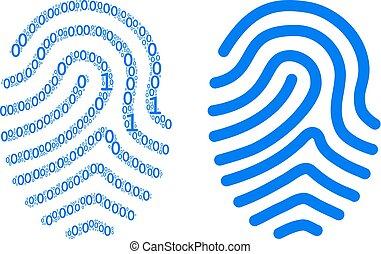 Fingerprint Composition of Binary Digits