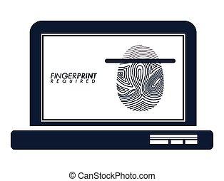 FingerPrint design over white background, vector...