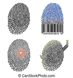 Vector illustration file of four Fingerprint design.
