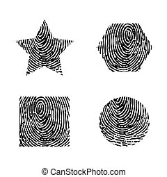 Black outline finger print isolated on white background. Different forms fingerprint silhouettes