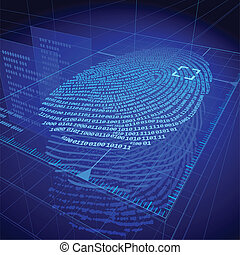 Digital fingerprint identification system. Eps8. RGB. Organized by layers. Global colors. Gradients used.