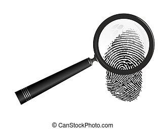 fingerprint - abstract illustration of magnifier examining a...