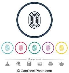 Fingerprint flat color icons in round outlines. 6 bonus...