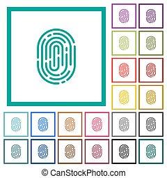 Fingerprint flat color icons with quadrant frames on white...