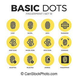 Fingerprint flat icons vector set - Fingerprint flat icons...